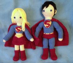 Amigurumi Superman and Supergirl