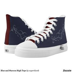 Blue and Maroon High Tops Printed Shoes New,cool swag...for you at www.zazzle.com/superdumb