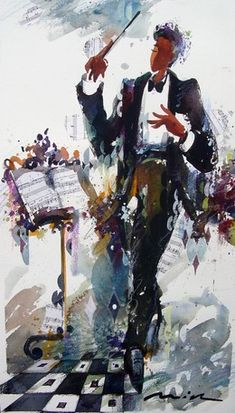 Conductor: Watercolor by Misha Lenn