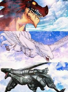Igneel ( Natsu ), Grandeeney ( Wendy) and Metalicana ( Gajeel)  from Fairy Tail