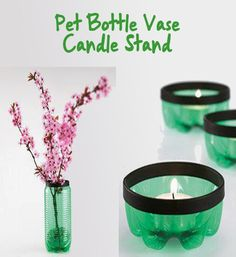 Pet Bottle Vase and Candle Stand #upcycling