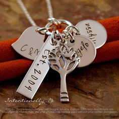 Personalized Mommy Jewelry - Hand Stamped Jewerly - Sterling Silver Necklace - My Love Story (with kids names)