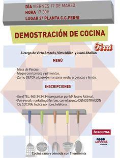 El próximo 17 de marzo realizaremos una demostración de #cocina en nuestro Centro. ¿Te atreves?.