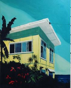 The Brunswick House, acrylic on canvas by Paul Harbour, 100 x 75 . contact us for any more info Brunswick House, Brunswick Heads, Gouache Painting, Painting & Drawing, Paintings I Love, House Paintings, Beach Shack, Mid Century Art, Australian Artists