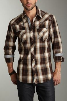 7 Diamonds modern take on a western plaid. Love the color palette of the plaid and the details | Men's Fashion | Menswear | Men's Apparel | Moda Masculina | Shop at designerclothingfans.com