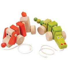 Amazon.com: Wobble Walkers Wood Pull Toys For Kids- Set of 2: Baby