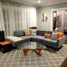 #FBF - Taking another look at this stunning space! Now this is a properly executed pop of color.[Eliot sectional with bumper   Echo Slate fabric]