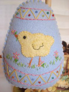 Easter Chick egg felt decoration hand embroidered by LaurieMade, $26.00