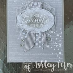 Loving Twinkle Twinkle in Grey Granite monochronicity! I added some retired Tip Top Taupe ribbon with the polka dot ribbon and some Wink… Stampin Up Karten, Stampin Up Cards, Baby Shower Cards, Baby Cards, Ribbon Cards, Paper Craft Making, Star Cards, Wink Of Stella, Stampin Up Catalog