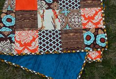 Brown & turquoise baby patchwork, via flickr.