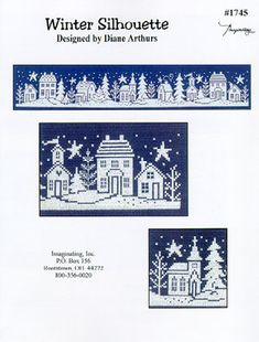 Winter Silhouette - White stitch on navy aida cross stitch pattern