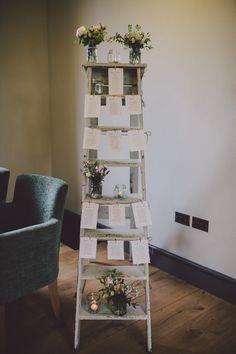 Ladder table plan Seating Plan Wedding, Wedding Signage, Seating Plans, Ladder Table Plan, Table Plans, Wooden Ladder, Ladder Decor, Elegant Wedding, Wedding Day