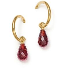Bloomingdale's Garnet Briolette Hoop Drop Earrings in 14K Yellow Gold... (10.005 RUB) ❤ liked on Polyvore featuring jewelry, earrings, 14k yellow gold earrings, drop dangle earrings, 14k earrings, gold drop earrings and gold earrings