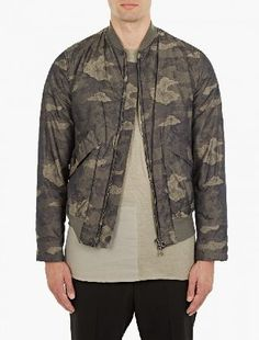 Helmut Lang Khaki Jacquard Camouflage Bomber The Helmut Lang Jacquard Camouflage Bomber for AW16, seen here in khaki. - - This unique bomber jacket from Helmut Lang features a distinctive camouflage jacquard motif throughout. Cut to offer a rela http://www.MightGet.com/january-2017-13/helmut-lang-khaki-jacquard-camouflage-bomber.asp