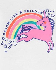 Happy Unicorn, Cotton Pjs, Baby Girl Pajamas, Little Planet, Kids Sleep, Kids Wear, Snug Fit, Cool Kids, Screen Printing
