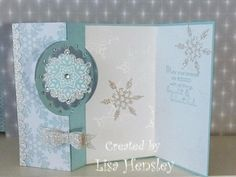 Festive Flurry Snowflake Spinner card - Cards and Paper Crafts at Splitcoaststampers Stamped Christmas Cards, Christmas Paper Crafts, Christmas Cards To Make, Xmas Cards, Holiday Cards, Flip Cards, Fancy Fold Cards, Snowflake Cards, Snowflakes