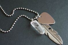 Musician Necklace - Men's Guitar Pick Charm, Crystal Quartz & Stainless Steel by TesoroDelSol