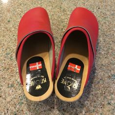 Krone red leather clogs Never worn Krone Shoes Mules & Clogs