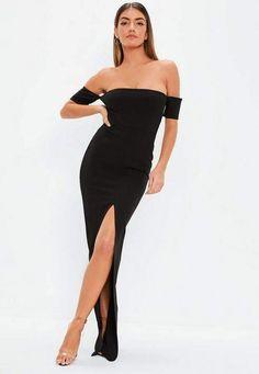 f144615120e Black Bardot Split Front Maxi Dress