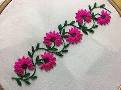 Hand Embroidery: borderline embroidery design with lazy daisy stitch.- Hand Embroidery: borderline embroidery design with lazy daisy stitch. Hand Embroidery: borderline embroidery design with lazy… - Hand Embroidery Videos, Embroidery Stitches Tutorial, Simple Embroidery, Sewing Stitches, Crewel Embroidery, Hand Embroidery Patterns, Vintage Embroidery, Embroidery Techniques, Ribbon Embroidery