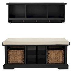 Crosley 2 Piece Brennan Entryway Bench & Shelf Set in Black   target.com   $529.99
