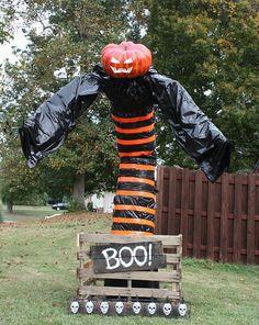 BOO! Giant jack-o-lantern jack-in-the-box Halloween lawn decoration.