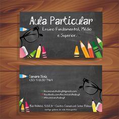 Cartão de visita aula particular Teacher Business Cards, Tutoring Business, Art Business Cards, Business Card Design, Creative Business, Clever Advertising, Visiting Card Design, Name Card Design, Mom Cards