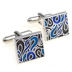 Material of Cuff-links: Zinc AlloyShape of Cuff-links: Square with Abstract FlamesDimensions of Cuff-links: Inches x Inches.Color of Cuff-links: Blue, Black, Chrome Black Royalty, Copper Material, Golden Ring, Cufflink Set, Silk Ties, Jewelry Sets, Gifts, Blue