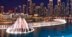 The Dubai Fountain is the world's second largest choreographed fountain system set on the 30-acre man-made Burj Khalifa Lake