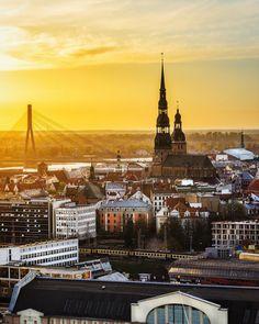The beautiful golden sun over Riga.