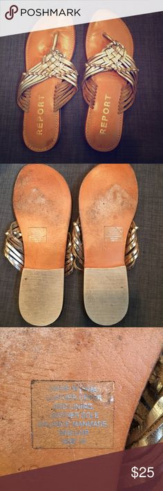 Gold Report Leather Sandals-10 Gold Report Leather Sandals in size 10. EUC with some gentle wear on the soles as shown. These are super comfortable and stylish for spring and summer. Looks great with pants or dresses! Report Shoes Sandals
