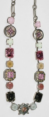 MARIANA NECKLACE PERSIAN ROSE: pink, taupe, white stones in silver set – European Accent