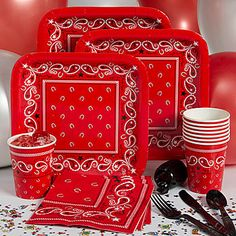 Our Bandana Print Basic Kit-N-Kaboodle includes table service for eight people including balloons and curling ribbon perfect for your western party!
