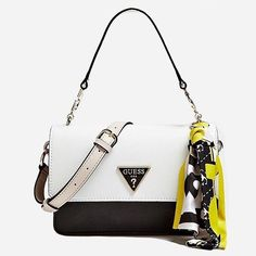 Defined by its chic grained finish and signature logo detailing the Analise Satchel Bag is a classic Guess piece Designer Purses And Handbags, Guess Handbags, Designer Bags, Denim Handbags, Quilted Handbags, Summer Handbags, Summer Bags, Black Tote, Black Backpack