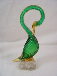 Vintage Pr Green Gold Swirled Murano Crystal Glass Birds Italian Sculpture