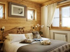 Restful cabin bedroom ~ it doesn't have to be big to be cozy