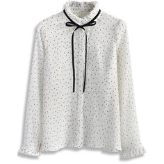 Chicwish Polka Dots Tie-bow Crepe Top in White (2,000 PHP) ❤ liked on Polyvore featuring tops, blouses, white, bow blouses, white bow blouse, white polka dot blouse, fancy white blouses and crepe blouse