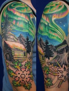 northern lights cabin & snowflakes by Gerry Carnelly Octopus Tattoo