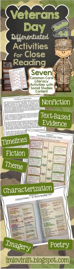 Veterans Day Lessons Your Students will LOVE-Differentiated Activities for Close Reading