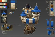 modelled towers for Siegecraft Commander game (I did not model top tower on the left, Human Basic). then did a paint over to establish art style. Building Concept, Building Art, Building Exterior, Building Design, Defense Games, Hand Painted Textures, Tower Defense, Tower Design, Game Concept Art
