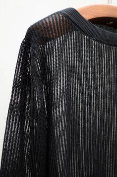 Black Ribbed Crew Pullover | Heist