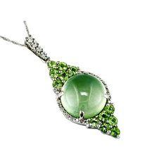 Ladies Diamond & Peridot Necklace in 14K White Gold (TCW 5.99). | GrandeJewelry.com