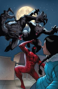 """marvel-dc-art: """"Scarlet Spider - """"In the Midst of Wolves"""" pencil by Khoi Pham ink by Tom Palmer, Terry Pallot, & Bit color by Fabio D'Auria, Andres Mossa, & Antonio Fabela"""" more comics here Epic Characters, Comic Book Characters, Comic Books, Marvel Vs, Marvel Heroes, Power Rangers, Marvel Universe, Cartoon Body, Scarlet Spider"""