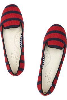 Charles Philip Shanghai|Sheila striped wool loafers |NET-A-PORTER.COM