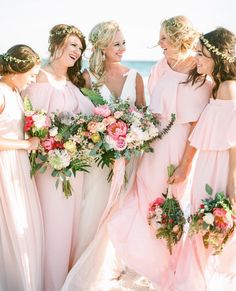 Show Me Your Mumu Bridesmaid Dresses in Frosty Pink