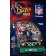 Green Bay Packers NFL Diecast 1999 Mustang with Brett Favre Display Stand by Winner's Circle WC and Hasbro by Hasbro  $15.00
