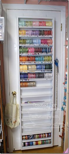Ideas Sewing Room Storage Ideas Ribbon Organization For 2019 Ribbon Organization, Scrapbook Organization, Sewing Room Organization, Craft Room Storage, Organization Hacks, Storage Ideas, Door Storage, Craft Ribbon Storage, Paper Punch Storage