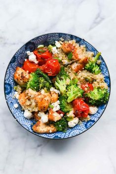 Mediterranean Quinoa Salad With Roasted Vegetables . Mediterranean Grilled Lamb Chop Recipe With Tomato Mint Quinoa. Home and Family Chicken Quinoa Bowl Recipe, Healthy Chicken, Chicken Recipes, Shrimp Recipes, Salmon Recipes, Pasta Recipes, Mediterranean Chicken, Mediterranean Diet Recipes, Feta