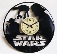Star Wars  disque vinyle horloge murale. Noir par VinylImage