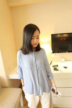 Silk Cotton Shirt Blouse Top 3/4 Sleeves